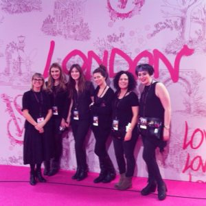 Me alongside the other makeup artists on Maria Comparetto's team at the Victoria Secret show. The backstage area was HUGE and everything was pink naturally!