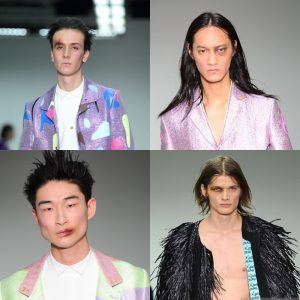 A few of the boys on the runway at the Sankuanz show - the colours in the bruising really came alive under the bright lights. Look designed by Maria Comparetto
