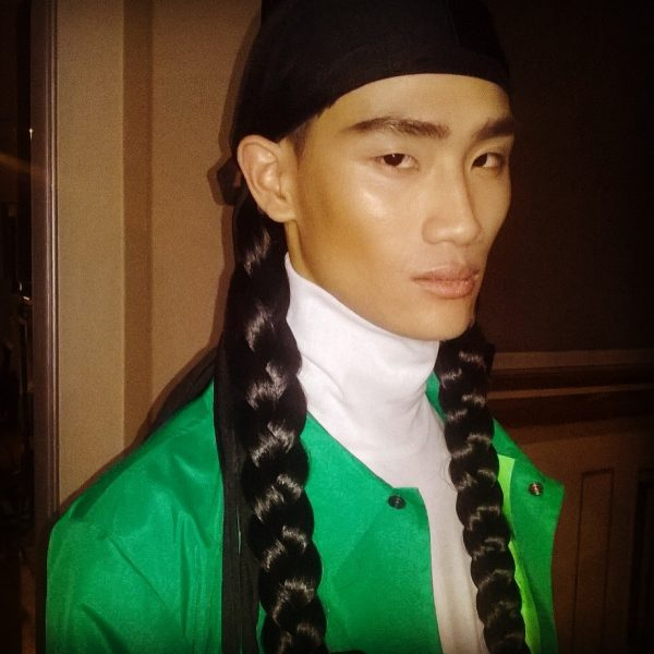 The look at Sankaunz SS16 LCM show - beautiful boys with fresh skin and masculine braids - Makeup designed by Maria Comparetto